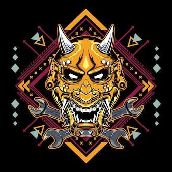 Maschera da diavolo giapponese hannya con emblema della chiave inglese
