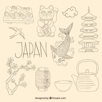 Elementi giapponesi in stile abbozzato