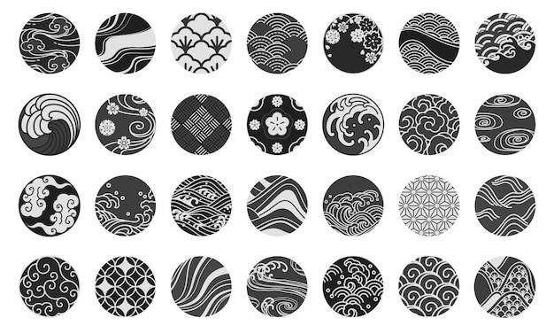 Emblema giapponese e simbolo forma rotonda illustrazione. acqua mare oceano onda, cinese nuvola e vento, sakura, tessuti, porcellana, tradizionale stile vintage