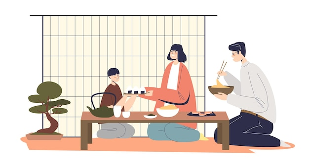Famiglia giapponese cenando insieme genitori isolati