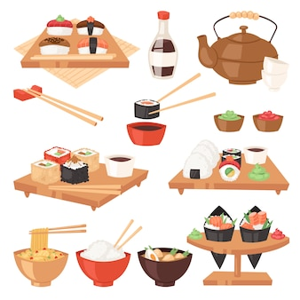 Cibo giapponese mangiare sushi sashimi roll o nigiri e frutti di mare con riso in giappone illustrazione del ristorante cucina giapponeseizzazione con le bacchette impostare isolato su sfondo bianco