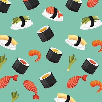 Modello senza cuciture fresco cibo giapponese