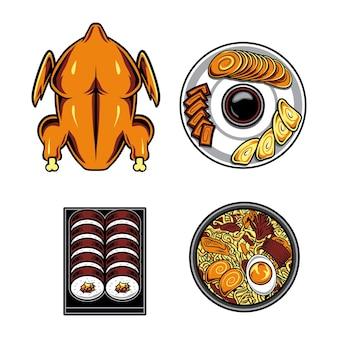 Cibo giapponese e pollo alla griglia