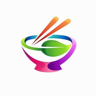Logo di cibo giapponese con concetto di bacchette