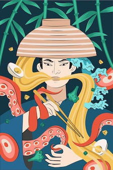 Disegno disegnato a mano di poster di ramen di cibo giapponese. piatto nazionale di pasta giapponese. tentacoli di calamaro o polpo intrecciati samurai con ciotola e bacchette. banner pubblicitario o decorazione di volantini per menu di caffè asiatico