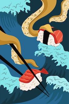 Disegno disegnato a mano di poster di sushi e sashimi di cibo giapponese. piatto nazionale giapponese riso e pesce crudo e gamberi. i tentacoli di calamaro o polpo tengono le bacchette sulle onde del mare. banner promozionale del menu del bar di involtini di pesce