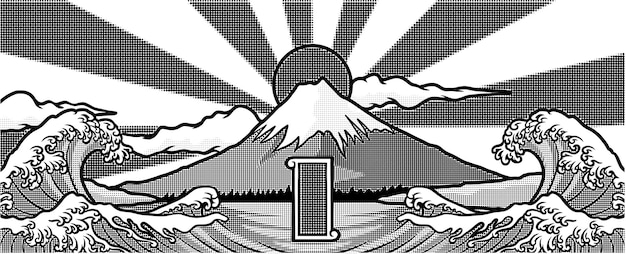 Disegno dell'illustrazione dell'opera d'arte fuji giapponese