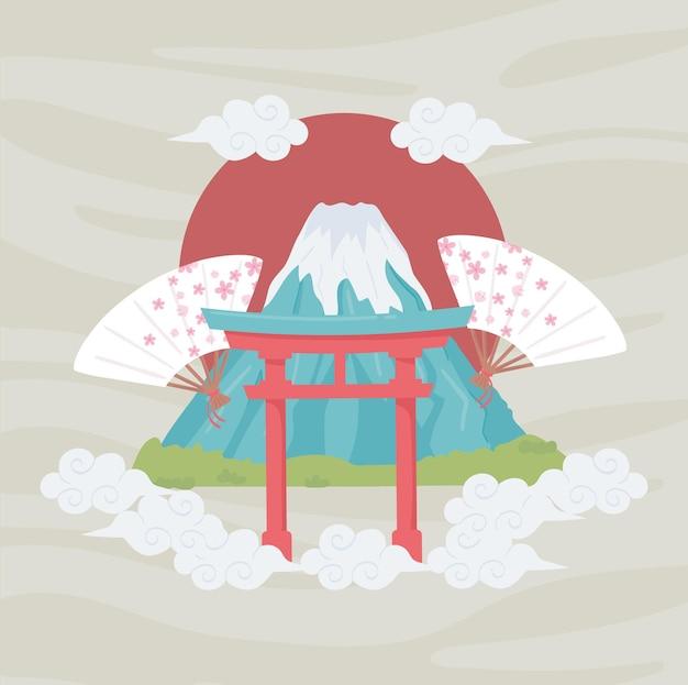 Cancello giapponese e monte