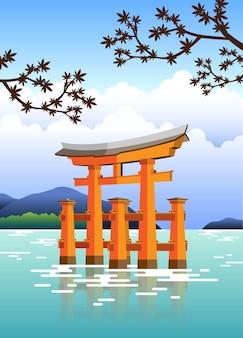 Porta giapponese torii con acqua e alberi