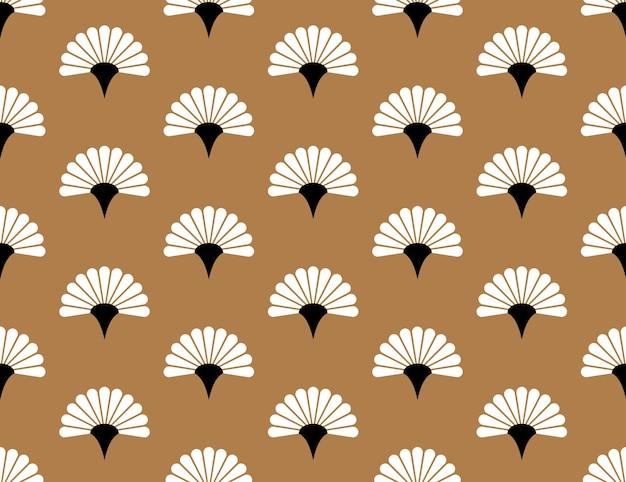 Modello senza cuciture di vettore floreale palmare giapponese su sfondo dorato struttura del fiore del giappone
