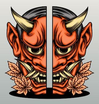 Maschera hannya giapponese incrinata.