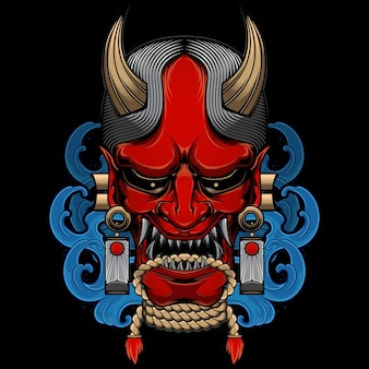 Vettore di maschera hannya giapponese