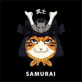 Gatto samurai testa giapponese