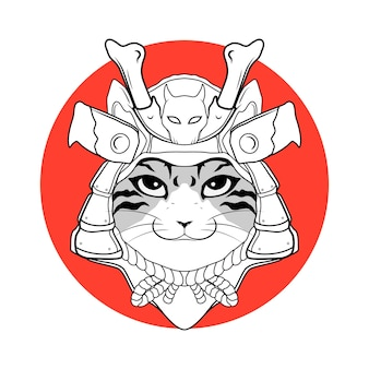 Testa giapponese samurai tigre in bianco e nero