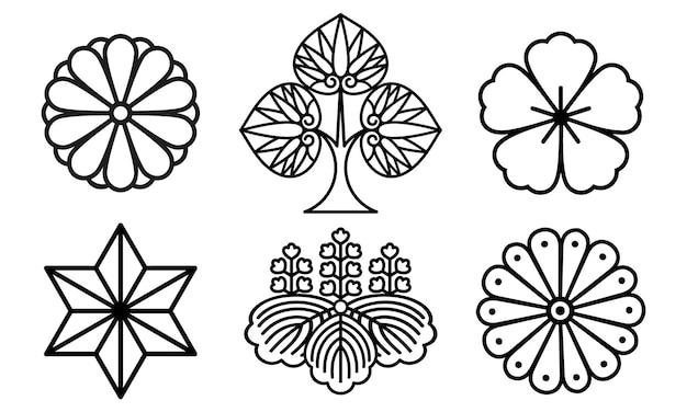 Icone giapponesi set di simboli o raccolta di piante tradizionali in fiore, illustrazione vettoriale isolato su sfondo bianco