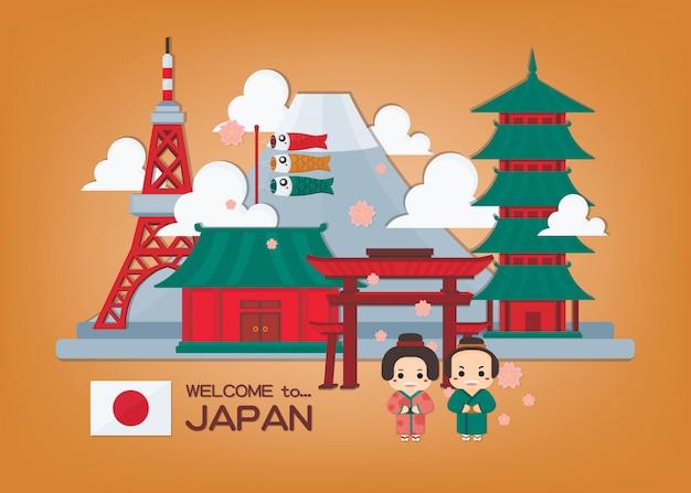 Illustrazione giapponese con il punto di riferimento e le coppie del giappone in kimono. bandiera del giappone.