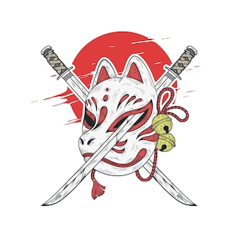 Illustrazione giapponese di maschera kitsune e spada katana