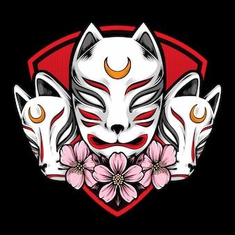Logo maschera kitsune giapponese