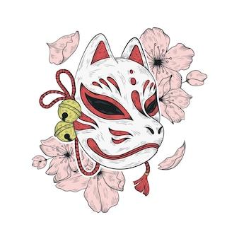 Illustrazione giapponese della maschera di kitsune e dei fiori di sakura