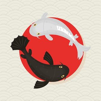 Disegno dell'illustrazione di carpe koi giapponesi