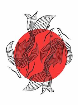 Illustrazione vettoriale di disegno di pesce koi giapponese