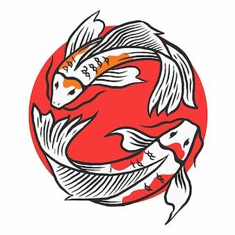 Illustrazione vettoriale di pesce koi giapponese