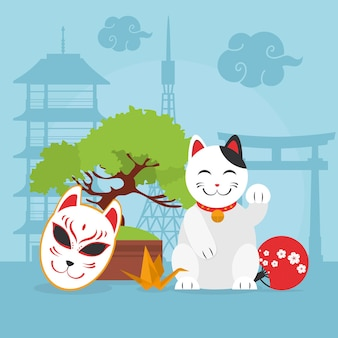 Illustrazione di gatto fortunato giapponese e icone correlate