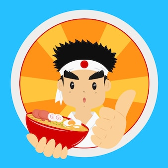 Uomo giapponese che tiene una ciotola di tagliatella di ramen, con i suoi pollici in su.