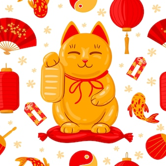 Striscione giapponese maneki neko. buona fortuna giappone gatto tradizionale, carino kawaii fortunato maneki neko fumetto illustrazione vettoriale. simpatico poster di maneki neko. gatto giapponese e lanterna, fortuna asiatica