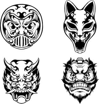 Set di maschere giapponesi