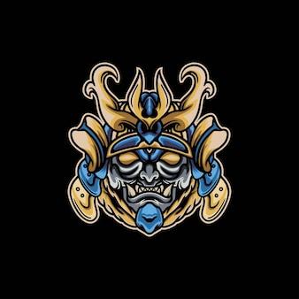 Disegno del logo della mascotte del mostro samurai giapponese