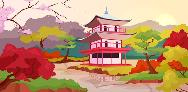 Illustrazione di colore piatto pagoda giapponese