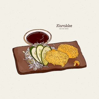 Le crocchette di patate giapponesi, o korokke, sono un cibo fritto giapponese a base di purè di patate sbriciolato con panko con carota, cipolla e trito. schizzo di tiraggio della mano.