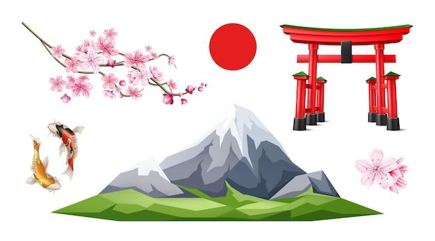 Simboli realistici giapponesi impostati torii cancello fuji montagna sakura carpa koi pesce che solleva il sole