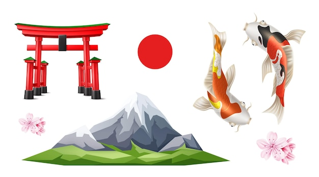 Porta torii giapponese realistica, montagna fuji, fiori di sakura, pesce carpa koi, sole che sorge