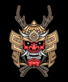 Samurai rosso giapponese. vettore premium
