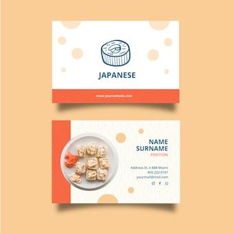 Biglietto da visita orizzontale ristorante giapponese