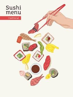 Modello di copertina del menu del ristorante giapponese con tavolo da pranzo e mani che tengono sushi, sashimi e panini con le bacchette su sfondo bianco. illustrazione vettoriale realistica per promozione, pubblicità. Vettore Premium