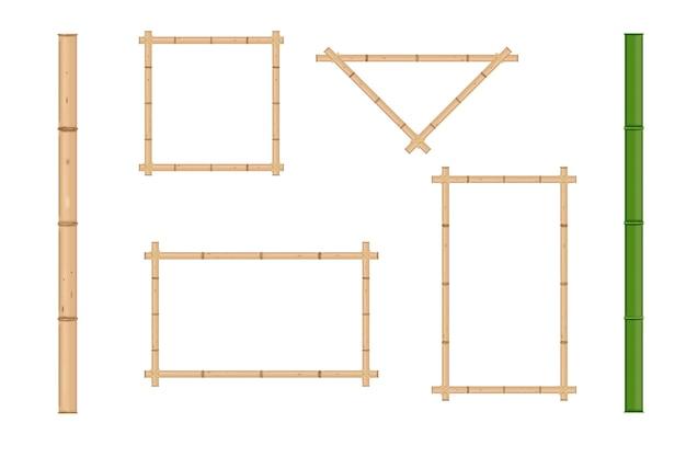 Cornice di bambù realistica rustica giapponese. illustrazione vettoriale isolato.