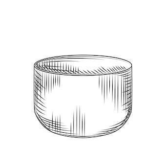 Tazza di sake giapponese isolata su sfondo bianco. bicchiere di bevanda alcolica di riso asiatico tradizionale. incisione in stile vintage. illustrazione vettoriale.