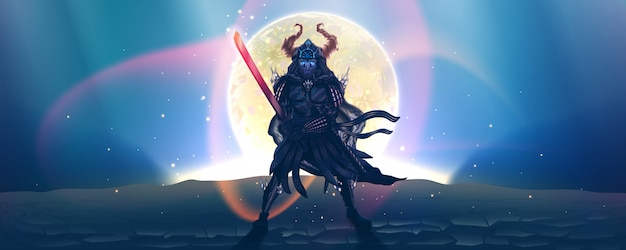 Samurai giapponese in armatura con spada, sagoma scura sopra la luna