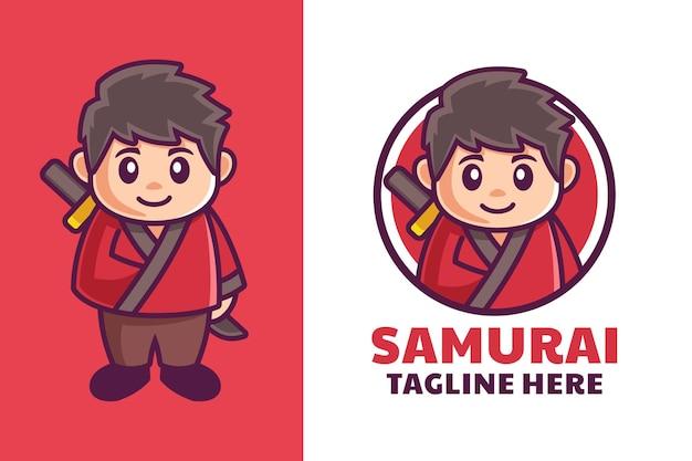 Disegno del logo della mascotte del ragazzo samurai giapponese