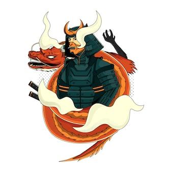 Samurai giapponese e drago per il design della maglietta