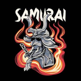 Illustrazione di samurai giapponese con fuoco e spada per il design e la stampa di tshirt