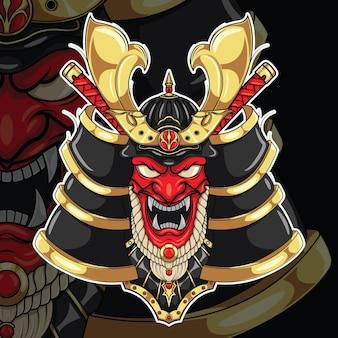 Maschera samurai giapponese., concetto di design del tatuaggio.