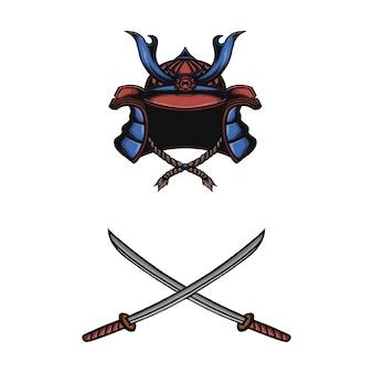 Illustrazione vettoriale di maschera samurai giapponese