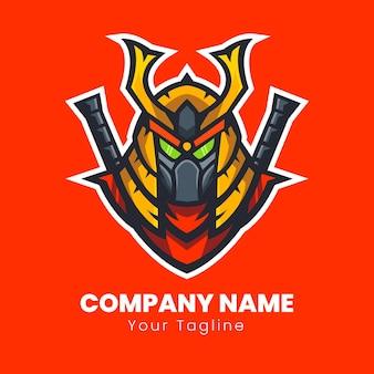 Design del logo del robot samurai giapponese