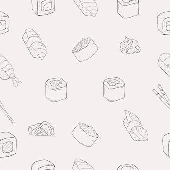 Modello senza cuciture di rotoli di sushi di pesce giapponese. cibo tradizionale. nori, temaki, nigiri, futomaki. bianco e nero