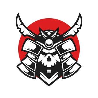 Illustrazione vettoriale di design samurai teschio giapponese