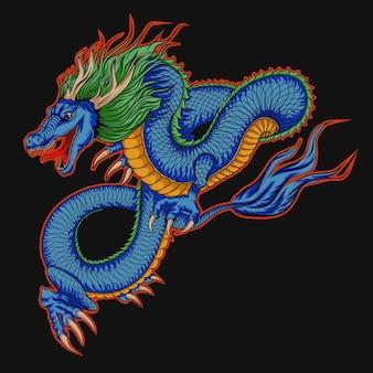 Illustrazione di drago in stile giapponese blu